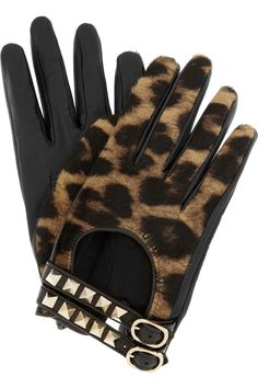 Valentino | Rockstud leather and calf hair gloves $575