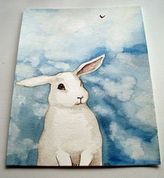 Original Watercolor Rabbit Painting  Little White by bluedogrose, $165.00