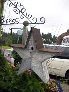 Star-shaped birdhouse.