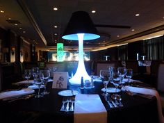 Paint Lampshade Black - White spandex centerpiece with black lamp shade for a Bar Mitzvah at the Kernwood Country Club in Salem, MA by The Prop Factory, via Flickr