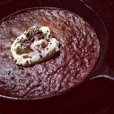 Paleo'ish on a Dime: Dark Chocolate Pecan Brownie Skillet with Maple Cinnamon Ice Cream (Paleo / Vegan / Gluten-free / Dairy-free / Egg-free...