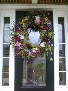 adoor wreath, wreath idea, spring wreaths, summer wreath