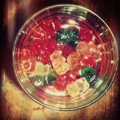 Vodka soaked gummie bears.   How's that for gorgeous gummies.? :]