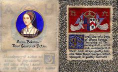 "A Coronation Book for Queen Anne Boleyn The coronation book on this web site is a transcription done by hand of Wynkin de Worde's pamphlet. The book (measuring 4"" x 5"") was done on calfskin vellum with illustrations and miniature portraits in watercolor. Gold leaf was applied throughout.-Read online!"
