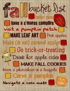FALL BUCKET LIST . . . I want to do all of these