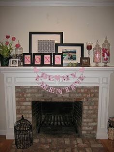 inexpensive Valentine's Day mantel