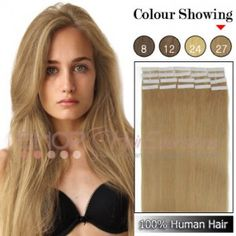 22 Inch 20pcs Tape Grade AAA Remy Human Hair Extensions Straight (#27 Strawberry Blonde)