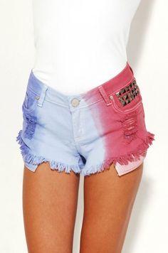 diy tie, coupons, tie dye, destroy denim, coachella, red white blue, 4th of july, denim shorts, blues