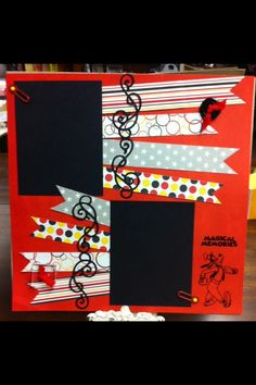 Disney Layout Using Queen & Co. - great use of scraps or even washi tape
