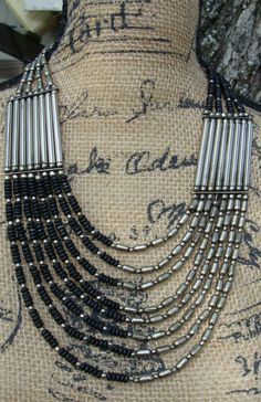 Vintage Tribal Metal and Wood Necklace Ethnic Jewelry by dables, $40.00