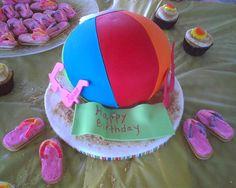 Beach ball cake & cookie flip flops