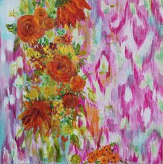 """PINK IKAT Painting with Orange Flowers """"Dahlia"""" by Carolyn Shultz/BluePoppyDesign SOLD"""