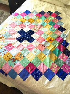 a quilt is nice: chippewa.  Love the mint green with pink and navy.