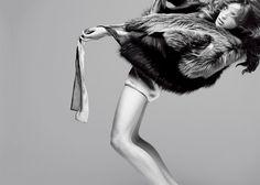 Daria Werbowy by Nathaniel Goldberg styled by George Cortina   fashion editorial   fur   back bend   posing   high fashion   show  