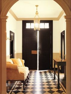 Black, white and tan foyer with diagonal checkerboard floorcloth -- Early American Floorcloths