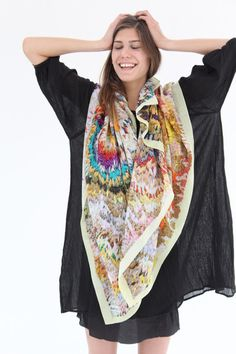 "Large luxurious scarf, 100% silk. 53"" by 53"" Wear around your neck or hang on a wall as art. Made in Germany"