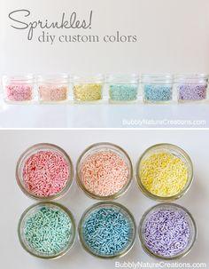 cupcake sprinkles, custom color, color sprinkl, food, diy custom, diy cupcake decor, cupcake diy decor, mason jars, diy sprinkles