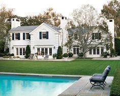 White house + black shutters.