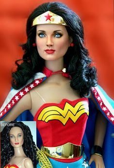 Artist Noel Cruz repaints dolls to make them truly look like the characters and it is SO impressive.  Doll Repaint Wonder Woman by noeling on deviantART