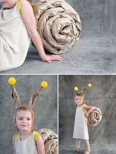 A perfect last-minute costume idea, this snail costume can be easily made with kraft paper, masking tape, ribbon, and a glue gun.