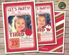Red Apple Stripe & Dots Birthday Invitation. DIY by EstalingStyle