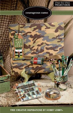 """Give your soldier a hero's welcome with these inspirational crafts from our scrapbooking area. Items include """"Rugged Ribbon board"""", """"Army Container"""", """"Courageous Clipboard"""" & so much more."""