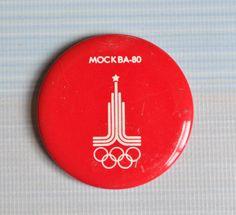 Vintage Soviet tin pin,badge.Moscow Olympics 80.. $3.00, via Etsy.