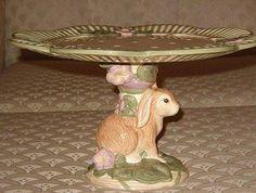 Sitting Easter Bunny cake plate pedestal base