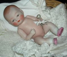 "Cutest 5 1/2"" - Grace S. Putnam- Bisque - Bye-Lo Baby - With Layette Clothes - Basket - Jointed w/ Sleep Eyes & Pink Shoes!!!"