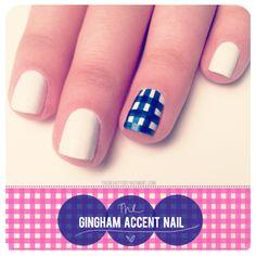 White + Blue Gingham Accent Nail Mani #Mani #Nails #Gingham #AccentNail #NailArt #White #Blue
