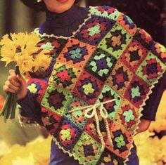 #Vintage #granny #square poncho pattern
