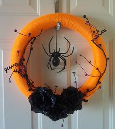 Halloween Wreath themed yarn decorated with by WormwoodApothecary, $20.00