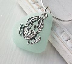 Scottish Sea Glass and Crab Necklace
