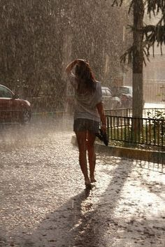 unexpected rain...just go with it! Love the smell of rain.