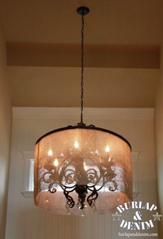 diy - chandelier shade made from burlap and a hula hoop!!! amazing!!