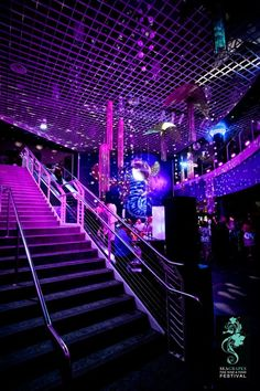 Purple event lighting at SeaGrapes Tampa at the FL Aquarium