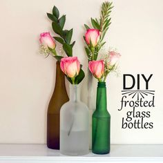 Turn Bottles Into Chic Frosted Vases