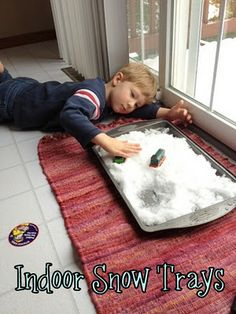 """Indoor snow play. """"Love to do this! We did it last winter and even built mini snowmen in a bowl on the dining room table. Such fun!"""""""