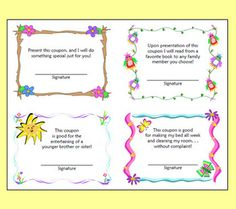 "Free Mother's Day Coupons that you can print and use ""as is,"" or you can print the templates and allow students to create their own. Teaching suggestions included."