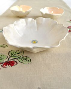 white poppy flower hand built bowl by OneClayBead