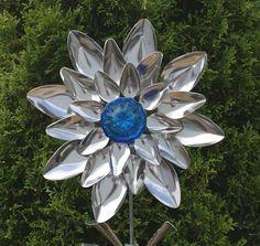 Blue Glass Door Knob Stainless Silverware Flower Garden Art Spoon Flower via Etsy
