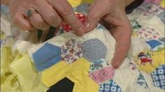 """Grandmother's One-Patch Quilts, Part 2 Video from Sewing with Nancy. Nancy transforms hexagon blocks, such as those used in Grandmother's Flower Garden, into super-sized blocks created without any """"Y"""" seams--just simple straight stitching. Make Grandmother's dramatic dahlia or a super-sized bouquet. These sensational quilts are easy to make using Nancy's faux-hexagon technique."""