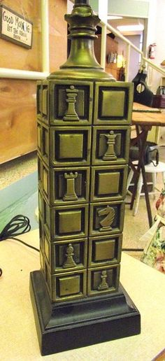BRASS CHESS Lamp Mid Century as seen on Dick Van by OldMillVintage, $149.00