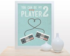 You can be my player 2 - 11x14 Games Love Retro  Old-School Nintendo Co-op aqua love heart wedding gift light blue controller on Etsy, $27.00