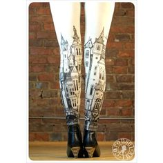 Victorian City Leggings - Off white Leggings - Womens leggings - SMALL... ($32) ❤ liked on Polyvore