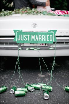 Turquoise Just Married Get Away Car