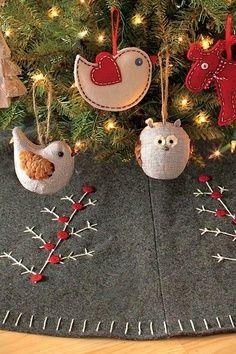 robin, christmas crafts, felt christmas, little birds, tree skirts, felt ornaments, christma bird, christma craft, christmas trees