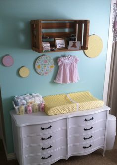 We love a thrift store dresser repainted to become a changing table! #DIY
