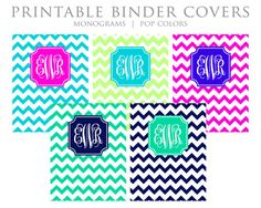 Printable Binder Covers - Monogram, Chevron, Blue, Lime, Magenta, Teal, Navy - Instant Download