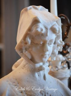 Antique Victorian Stone Bust White Alabaster by edithandevelyn